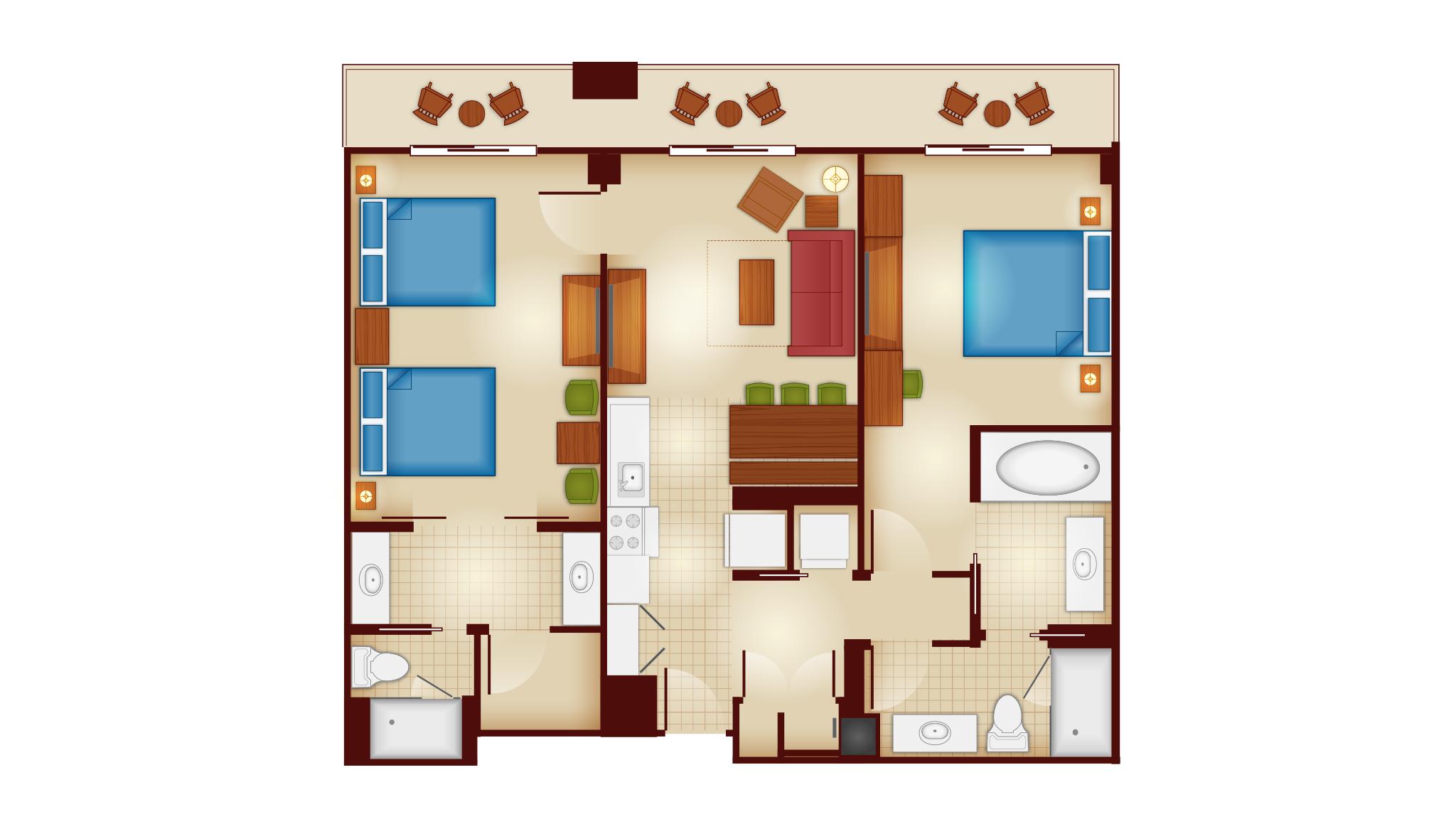 Animal Kingdom 2 Bedroom Villa Floor Plan: Copper Creek Villas & Cabins