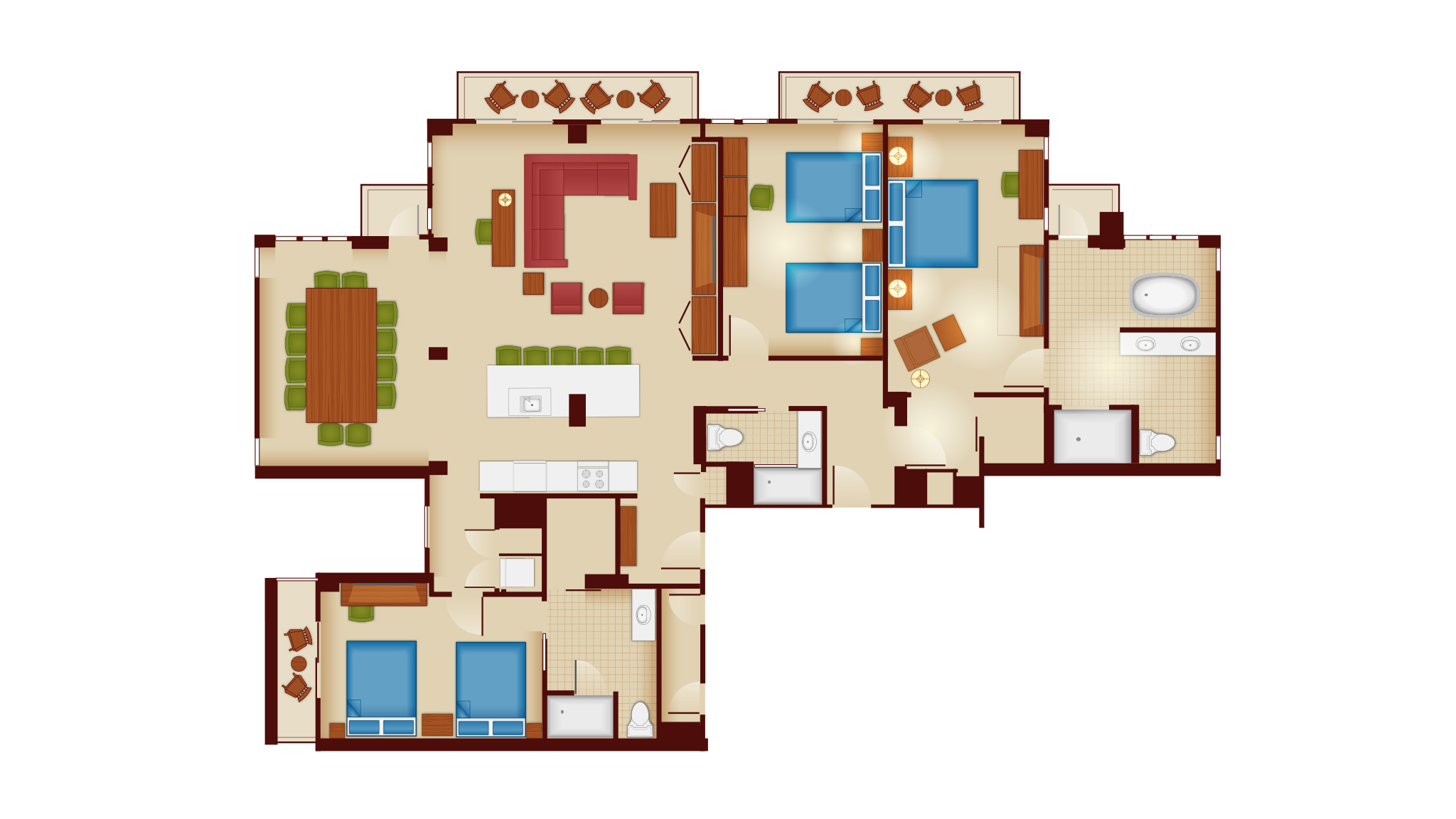 100 boardwalk villas one bedroom floor plan 1 2 3 bedroom villa floor plans