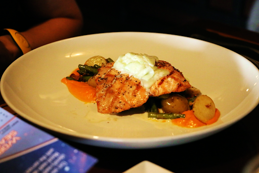 Grilled Verlasso Salmon The Turf Club Saratoga Springs Resort and Spa Disney Resales DVC Orlando Florida