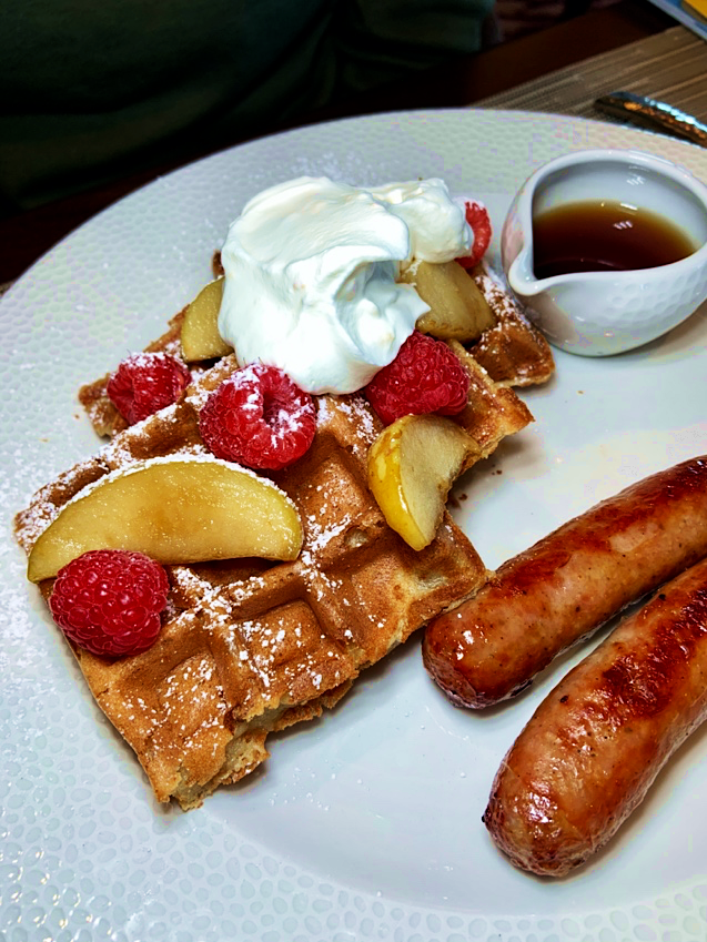 Sour Cream Waffles with Chantilly Character Breakfast at Riviera's Topolino's Rooftop Terrace Disney's Riviera Resort Orlando Florida Resales DVC